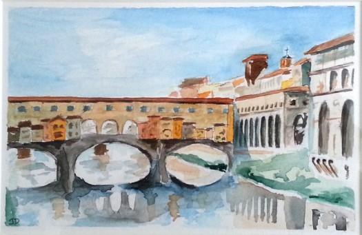 Ponte Vecchio, watercolor on paper, 6'' x 9''