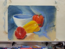 Here's my first pastel still life painting/sketch. I used Sennelier soft pastels and Prismacolor nupastels on pastel card paper.