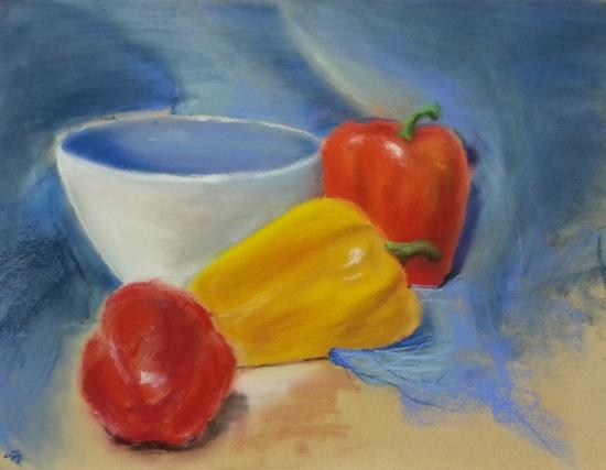 Still life, 9'' x 15'', pastel on paper