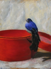 Still life with Bird, 9'' x 15'', soft pastel on paper