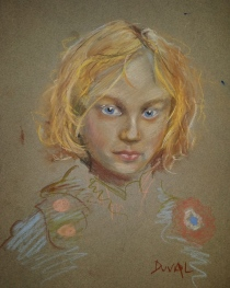 Gavroche, pastel pencil on paper, 9'' x 12''