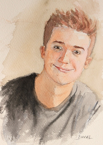 Self Portrait, watercolor on paper, 9'' x 6''