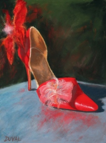 High Heel, pastel on paper, 15 3/4'' x 12''