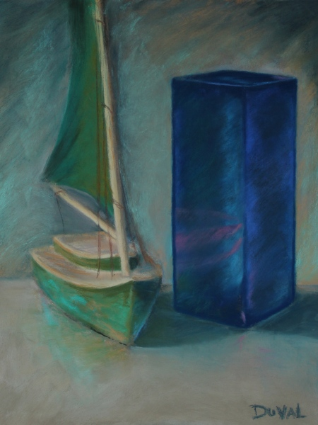 """Sailboat"" pastel on paper, 15 3/4 x 12"""