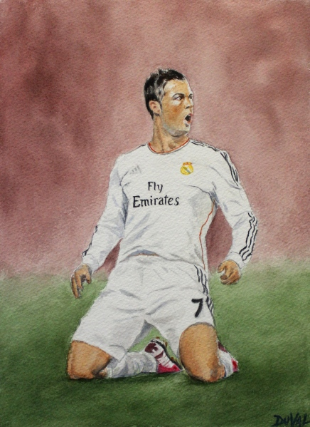 Cristiano, watercolor on paper, 12'' x 9''